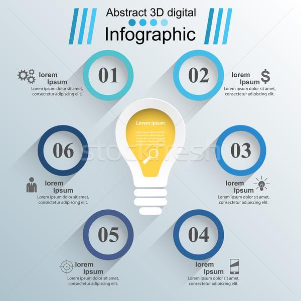 üzlet infografika origami stílus villanykörte infografika Stock fotó © rwgusev