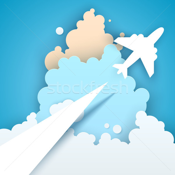 Papír origami stílus légi utazás vektor eps Stock fotó © rwgusev