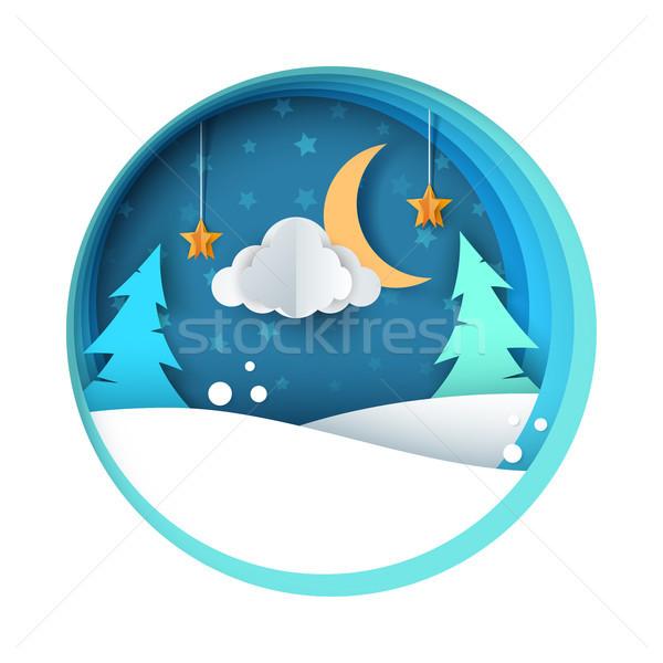 Papír éjszaka illusztráció fenyő hold felhő Stock fotó © rwgusev