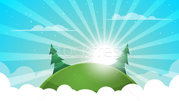 Cartoon landscape - abstract illustration. Sun, ray, glare, hill, fir, cloud. Stock photo © rwgusev