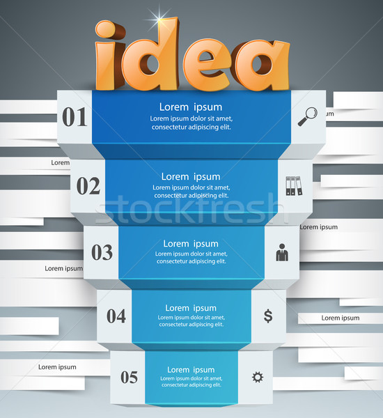Idee 3D business infographics logo grijs Stockfoto © rwgusev