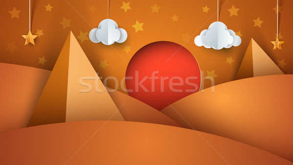 Lifeless desert - paper illustration Stock photo © rwgusev