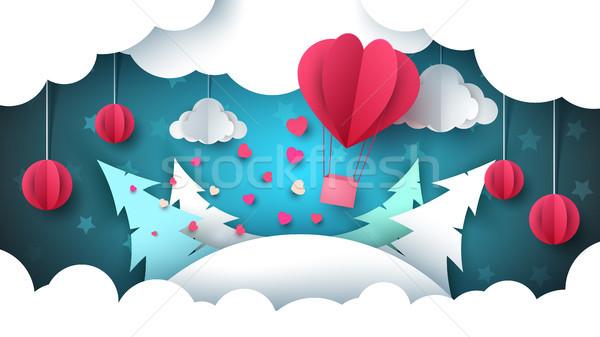 Валентин день иллюстрация зима пейзаж воздушный шар Сток-фото © rwgusev