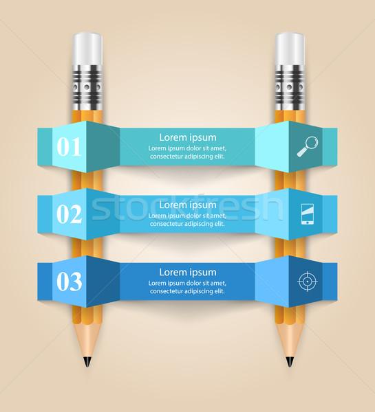бизнеса Инфографика оригами стиль карандашом 3D Сток-фото © rwgusev