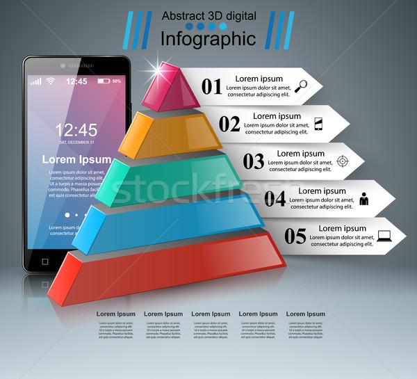 3D смартфон икона дизайн шаблона маркетинга Сток-фото © rwgusev