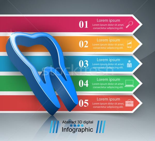 Business infographics tand icon origami stijl Stockfoto © rwgusev