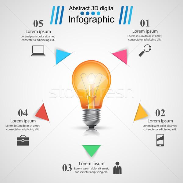Projeto bulbo luz ícone modelo de design Foto stock © rwgusev
