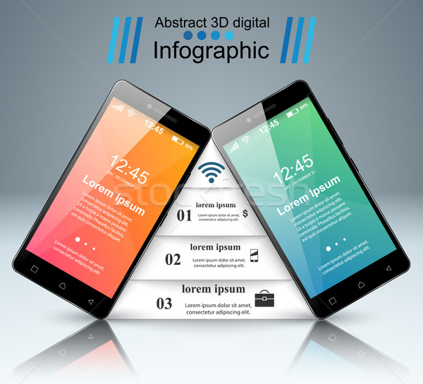3D smartphone icon ontwerpsjabloon marketing Stockfoto © rwgusev