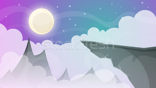 Cartoon night landscape. Comet, moon, mountains, fir illustration. Stock photo © rwgusev