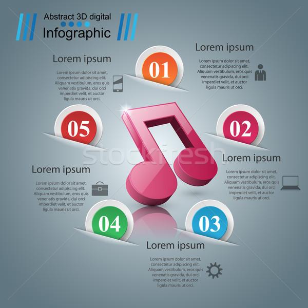 Zene oktatás infografika jegyzet ikon absztrakt Stock fotó © rwgusev