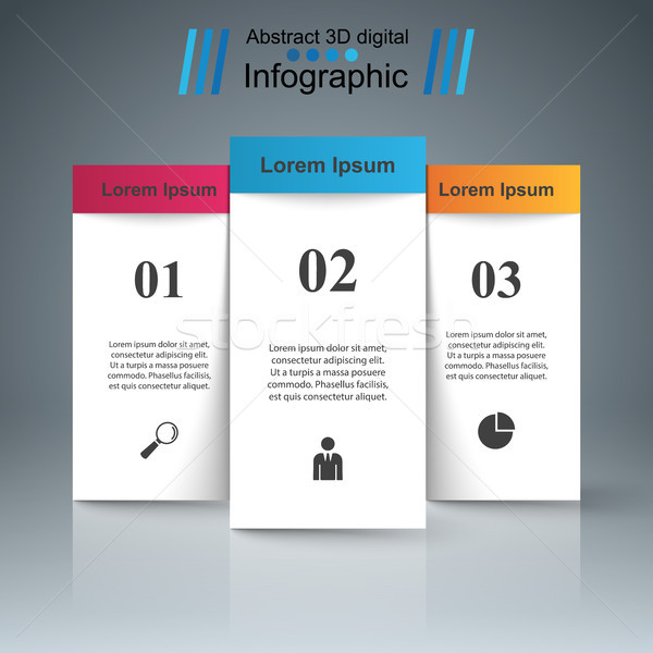 3D infographic design template and marketing icons.Three stand p Stock photo © rwgusev