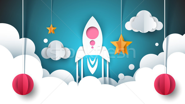 Cartoon бумаги пейзаж иллюстрация ракета звездой Сток-фото © rwgusev
