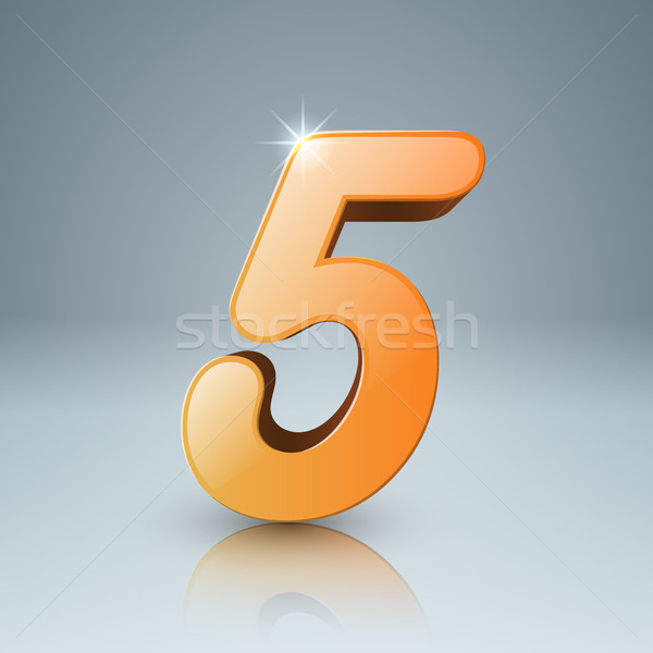 Amarillo cinco icono naranja logo gris Foto stock © rwgusev