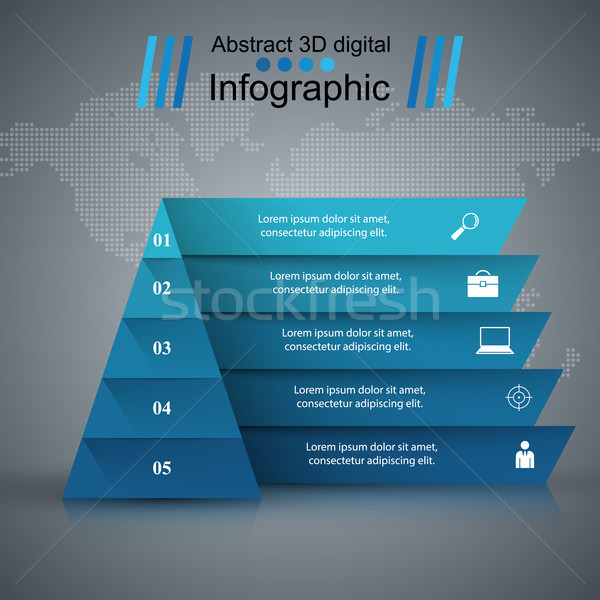 Pyramid Business Infographics origami style Vector illustration. Stock photo © rwgusev