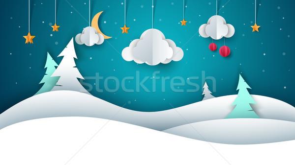 Stock fotó: Tél · tájkép · papír · illusztráció · vektor · eps