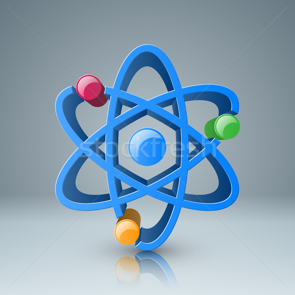 3d atom icon with color circle. Stock photo © rwgusev