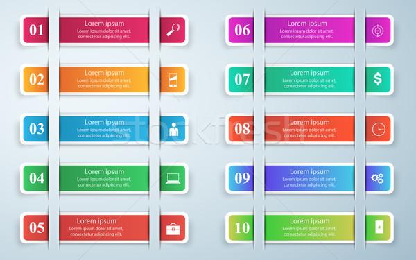 3D infografika design sablon marketing ikonok üzlet Stock fotó © rwgusev