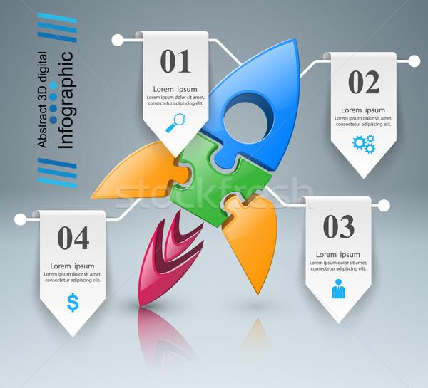 Raket icon abstract illustratie logo Stockfoto © rwgusev