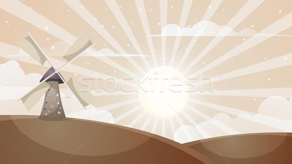 Desenho animado quente paisagem moinho nuvem sol Foto stock © rwgusev