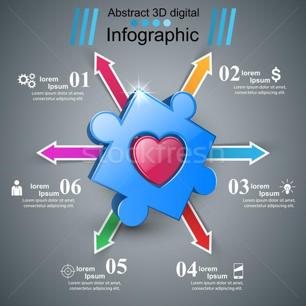 Absztrakt 3D digitális illusztráció infografika szív ikon Stock fotó © rwgusev