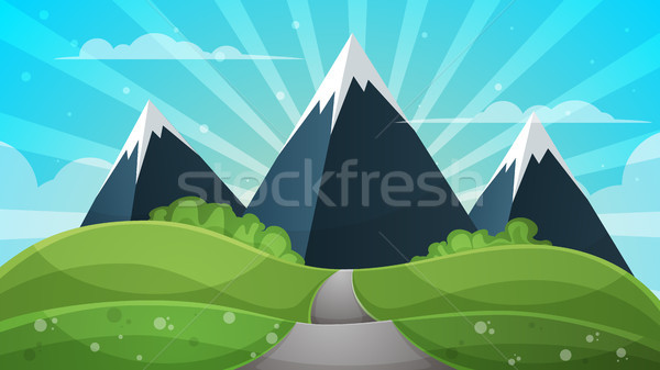 Cartoon landscape - abstract illustration. Sun, ray, glare, hill, cloud, mountain. Stock photo © rwgusev