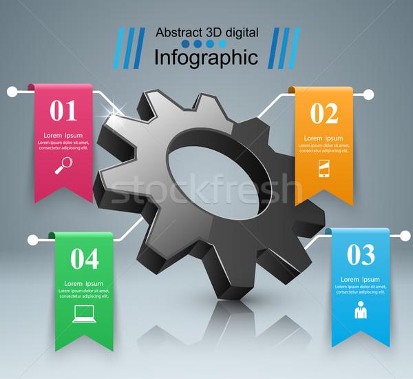 Engrenagem ícone negócio infográficos origami Foto stock © rwgusev