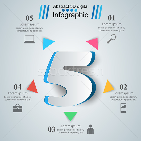 Negócio infográficos origami estilo cinco 3D Foto stock © rwgusev