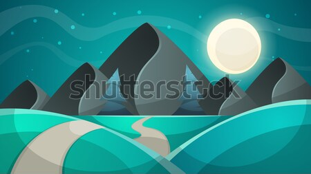 Stock photo: Cartoon night landscape. Comet, moon, mountains, fir illustration.