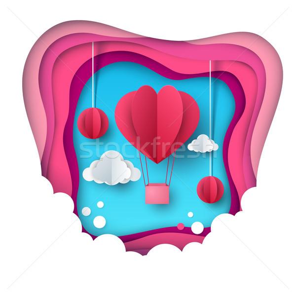Love balloon illustration. Valentine s Day. Cloud, star, sky Stock photo © rwgusev