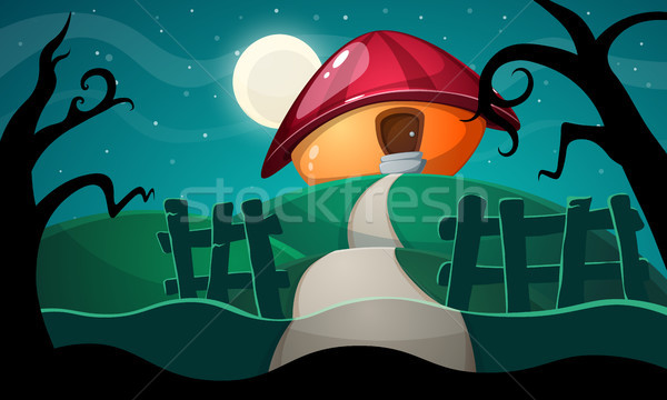 Cartoon landschap champignon huis vector eps10 Stockfoto © rwgusev