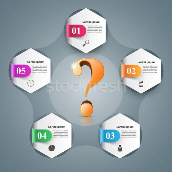 Negocios infografía signo de interrogación comercialización color información Foto stock © rwgusev