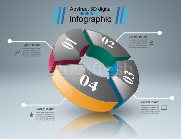 Abstrato 3D ilustração digital negócio infográficos Foto stock © rwgusev