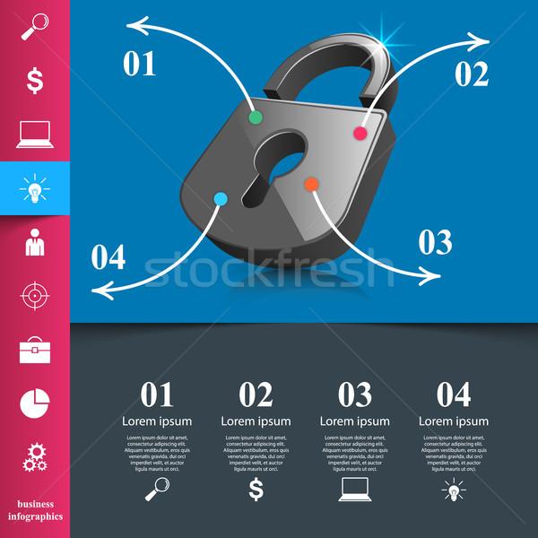 Infografika illusztráció zár ikon üzlet infografika Stock fotó © rwgusev