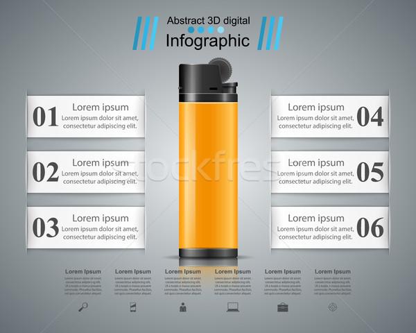 Realistico accendino business infografica marketing icona Foto d'archivio © rwgusev