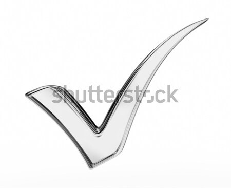 3d illustration of silver check mark Stock photo © rzymu