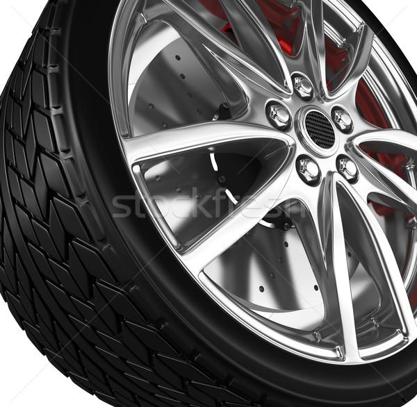 Foto stock: Neumático · aleación · rueda · 3d · coche · deporte