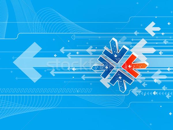 矢印 3dのレンダリング フレーム 芸術 オレンジ 青 ストックフォト © rzymu