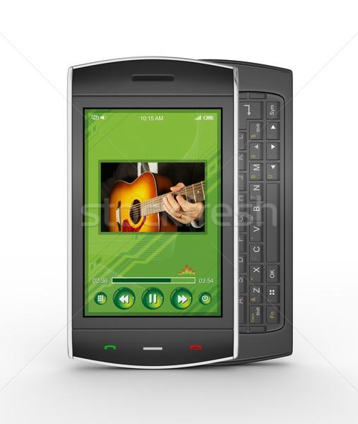 Fekete mobil okostelefon részletes 3d render üzlet Stock fotó © rzymu