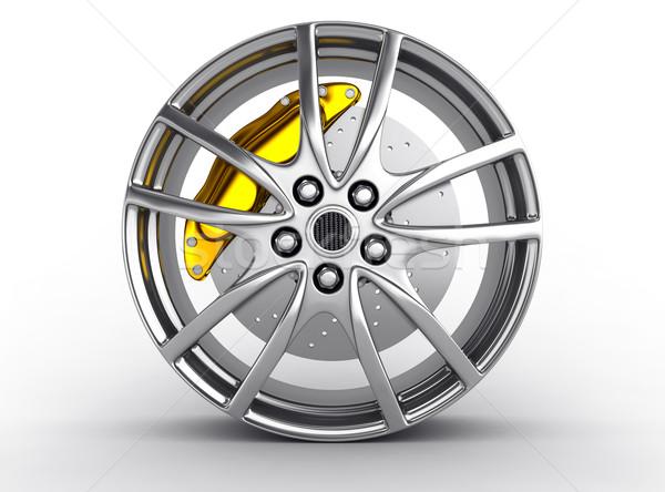 Pneumatico lega ruota rendering 3d auto sport Foto d'archivio © rzymu