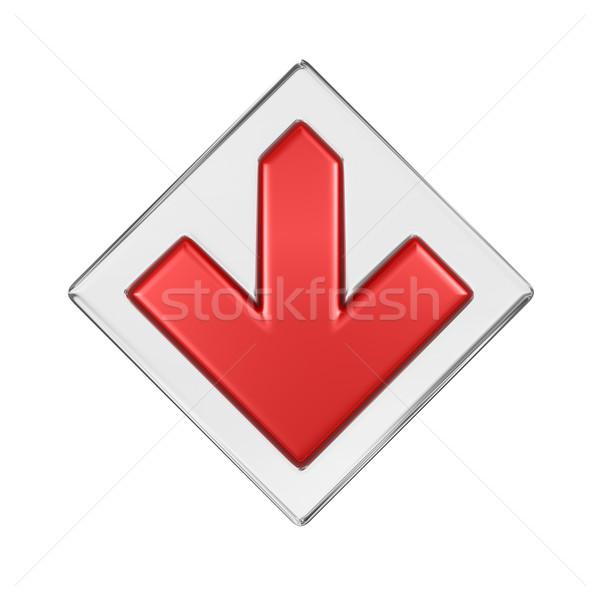Rood pijl 3d render teken web grafische Stockfoto © rzymu