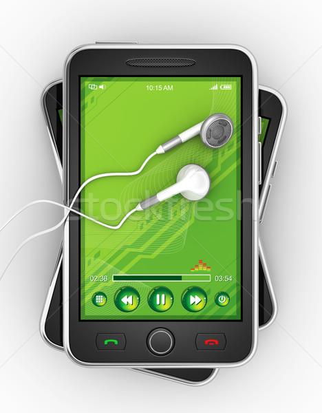 Black mobile smart phone. Stock photo © rzymu