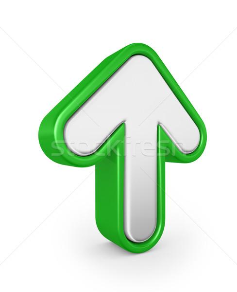 Groene pijl 3d render teken web grafische Stockfoto © rzymu