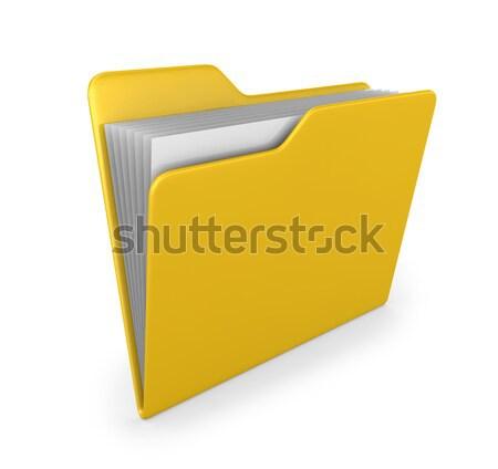 Geel map 3d render business oranje witte Stockfoto © rzymu