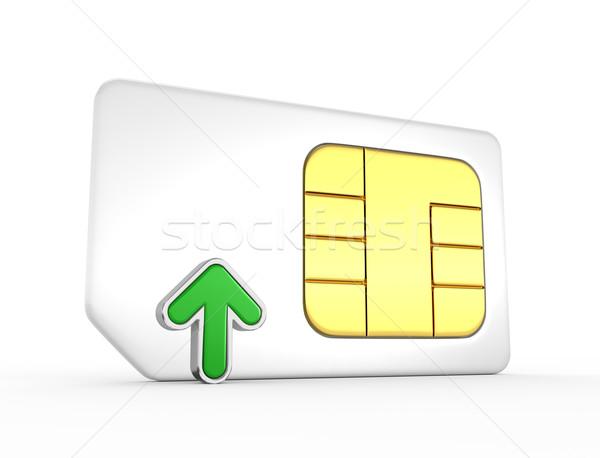 Kaart groene pijl 3D telefoon sleutel Stockfoto © rzymu