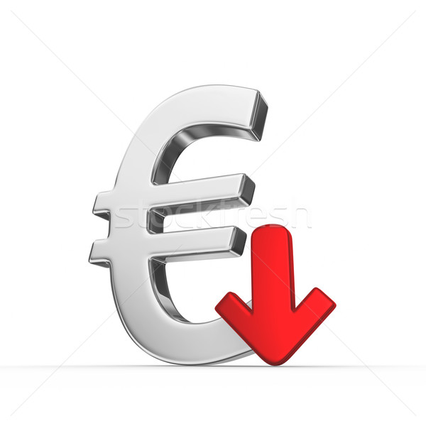 下がり ユーロ 通貨 3dのレンダリング 赤 市場 ストックフォト © rzymu