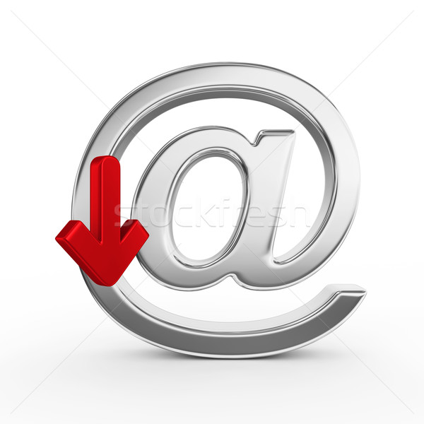 メタリック レンダー シンボル 3dのレンダリング メール 情報 ストックフォト © rzymu