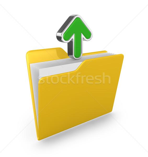 Geel map groene pijl 3d render business Stockfoto © rzymu