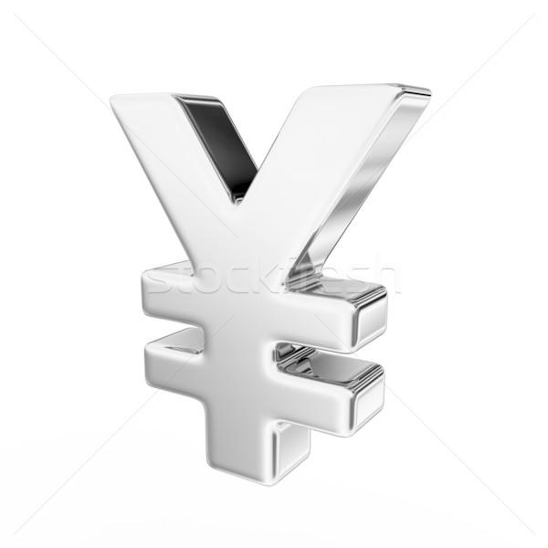 Yen teken 3d render business metaal financieren Stockfoto © rzymu