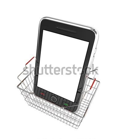 Zwarte mobiele smartphone geïsoleerd witte gedetailleerd Stockfoto © rzymu