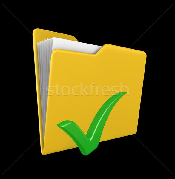 黄色 フォルダ 緑 チェック マーク 3dのレンダリング ストックフォト © rzymu